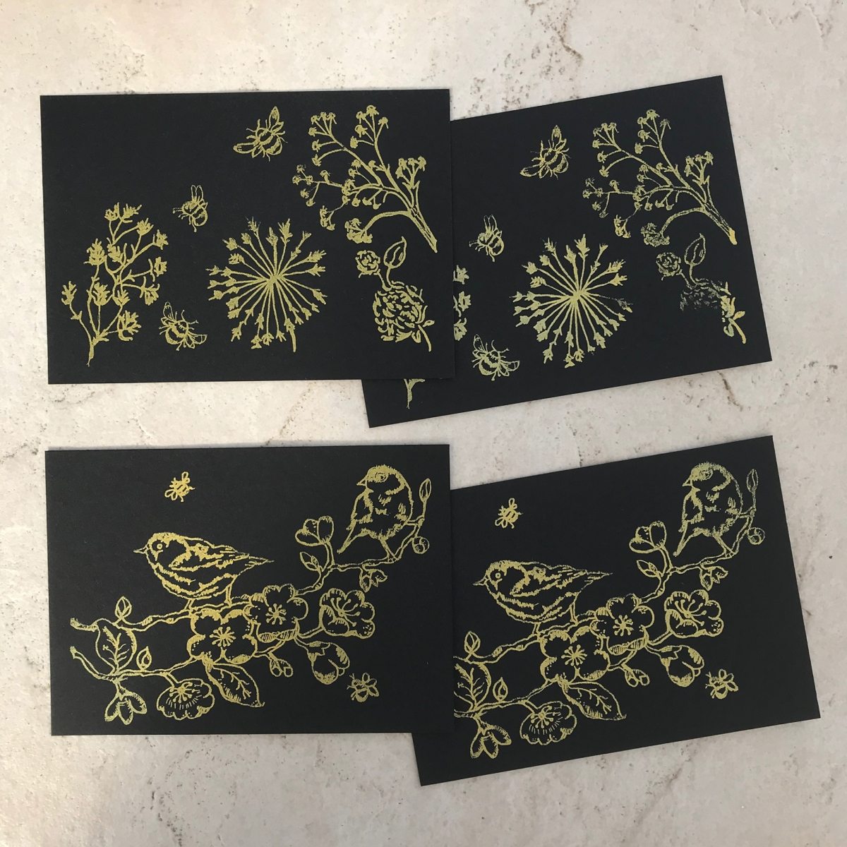 Notecards With Envelopes And Metallic Marker Black Gold