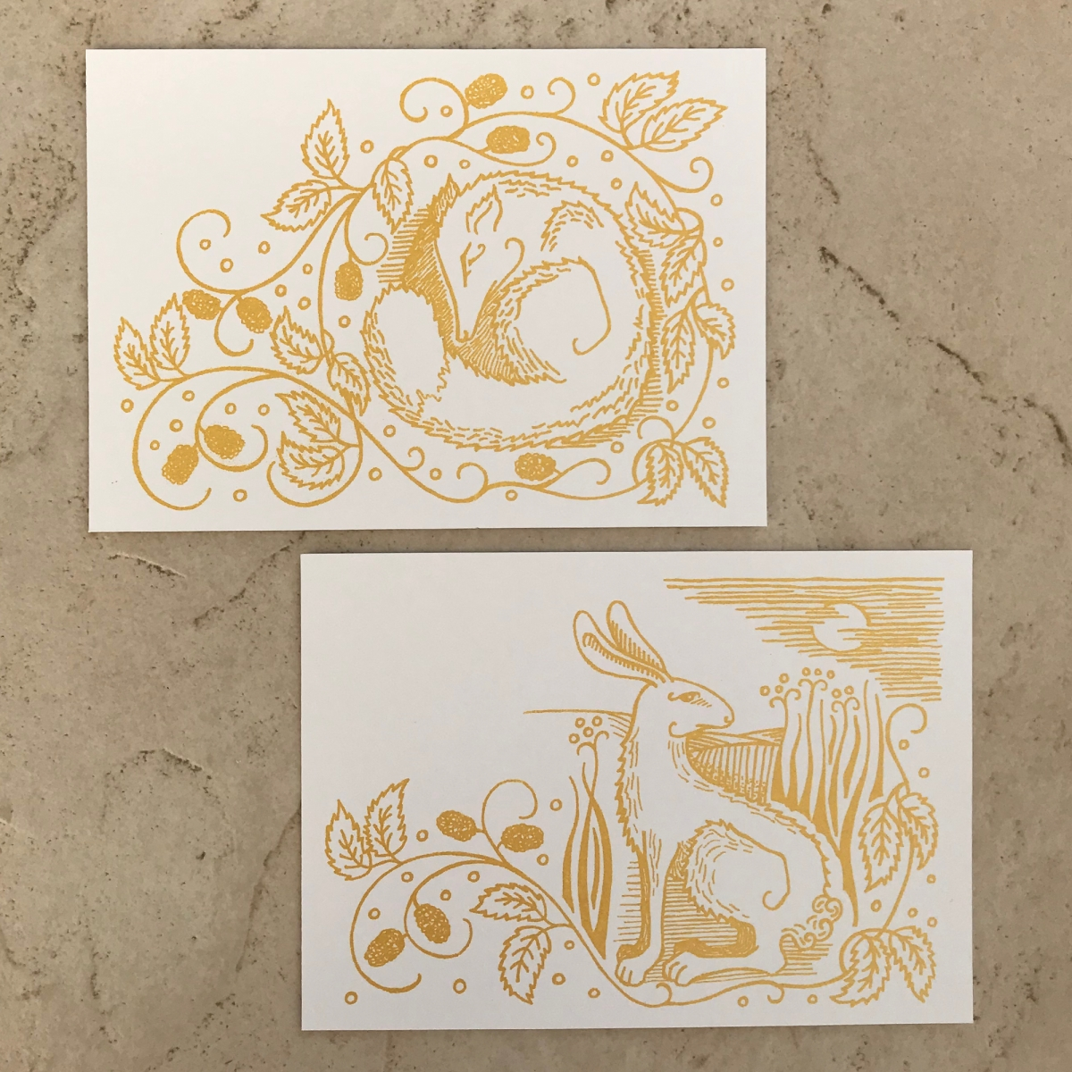 Notecards With Envelopes And Metallic Marker White Gold