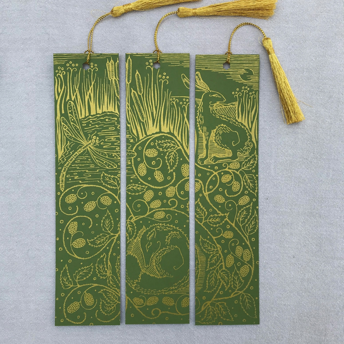 Hand Printed Triptych Bookmarks Olive Gold