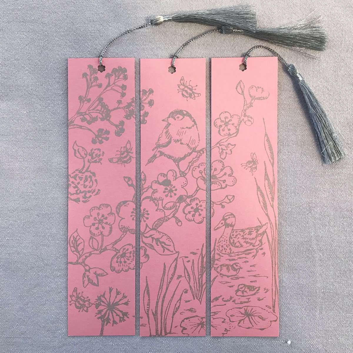 Hand Printed Triptych Bookmarks Blush Silver